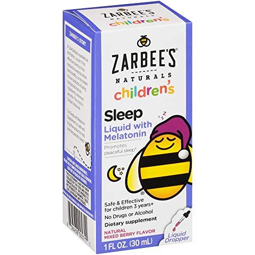 Zarbee's Naturals Children's Sleep Liquid with Melatonin Supplement, Natural Berry Flavor, 1 Fl Oz Bottle
