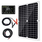 Topsolar Solar Panel Kit 20W 12V Monocrystalline with 10A Solar Charge Controller + Extension Cable with Battery Clips O-Ring...