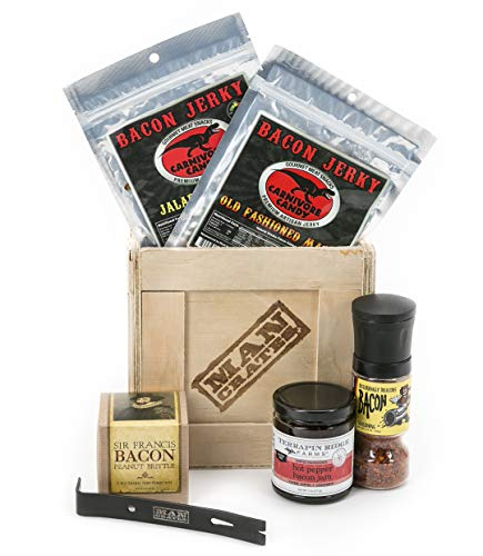 Man Crates Bacon Crate  Includes 5 Awesome Bacon-Flavored Snacks Like Maple Bacon Jerky, Bacon Seasoning and More  Great Gifts for Men