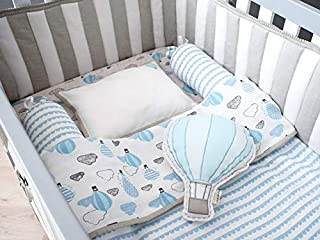 ELEMENTARY - basics redefined Organic Cotton Baby Muslin Blanket/Dohar/AC Quilt - Reversible - Hot-air Balloon and Star Design 0-3 yrs (Blue, 100x140 cms)