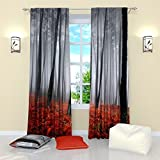 Factory4me Woodland Curtains with Misty Forest Print Rod Pocket Room Darkening Drapes Window Panels Set of 2 Gray and Red Curtains 84 inch Length for Bedroom Living Room Kitchen Dining Room