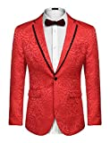 COOFANDY Men's Rose Floral Suit Jacket Blazer Weddings Prom Party Dinner Tuxedo (XXL, Red)