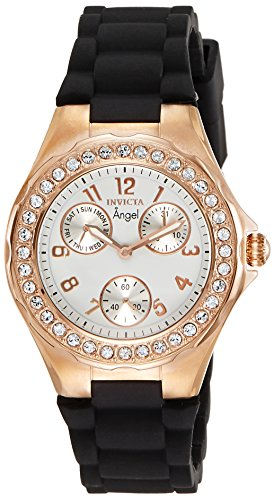 Invicta Women's Angel Rose Gold Tone Case with White Dial Crystal Accented Quartz Watch, Rose Gold (Model: 1645)