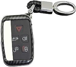 Funda para llave de coche, 5 botones, de silicona y fibra de carbono, para Land Rover Defender Descubrimiento Sport Lr2 Lr3 Lr4 Range Rover Sport Evoque y Jaguar Xf Xj Xjl Xe F-p, a, mit Schlüsselbund