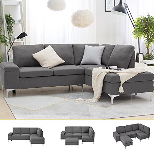 Esright Right Facing Sectional Sofa with Ottoman,Convertible Corner Couches with Armrest Storage, Sectional Couch for Living Room & Apartment, Right Chaise & Gray