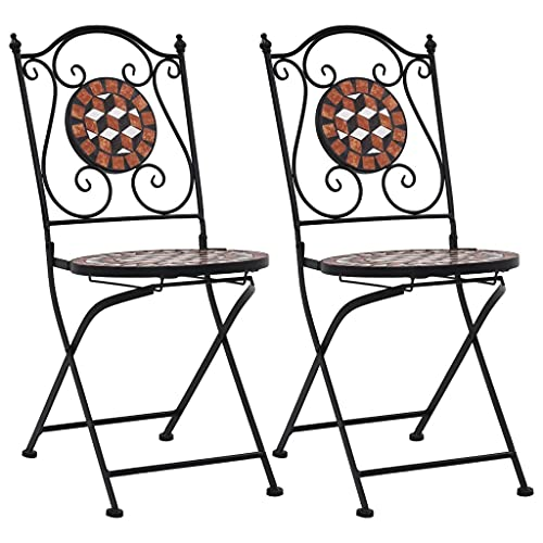 Wealthgirl Outdoor Patio Bistro Set,Mosaic Bistro Dining Table and 2 Backyard Garden Chairs,Furniture Set for Kitchen,Garden,Yard (2 Chairs E)