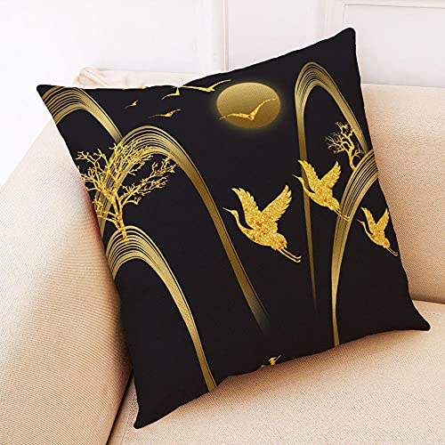 Bccowdwzfc Fundas de Cojines Pájaro de Loto Dorado Fundas de Almohada de Lino, Fundas de Almohada Decorativas Fundas cuadradas, para el sofá del Dormitorio del hogar 45 x 45 cm Juego de 2