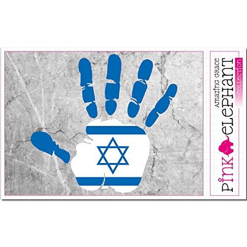 pinkelephant Aufkleber - Israel - Hand - Handabdruck - Fahne - 21 cm x 20 cm - Laptop Sticker skin flag