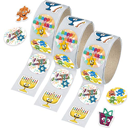 Hanukkah Sticker Roll, Chanukkah Menorah with Candle, Gift-Box, Dreidel, Happy Hanukkah Sticker Roll 150 Count (3-Pack)