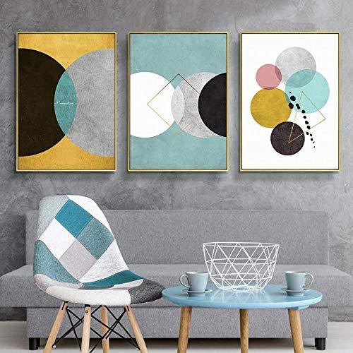 QianLei Minimalistische geometrische kleur rond canvas schilderij retro industrieel patroon muurkunst poster Home Decor Triptychon afbeeldingen 40x60cmx3p geen lijst