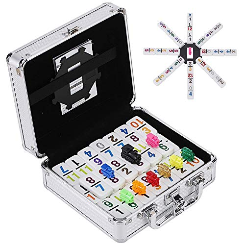 Esnowlee Mexican Train Number Dominoes Set Double 12 Dominoes 91 Tiles Games with Aluminum Case, Number Dominoes Set Well Painted for Kids Adults