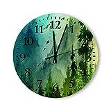 DKISEE Reloj de pared redondo de cuarzo silencioso sin garrapatas – Mañana de montaña decorativo de madera, para dormitorio, sala de estar, hogar, 30,4 x 30,4 cm