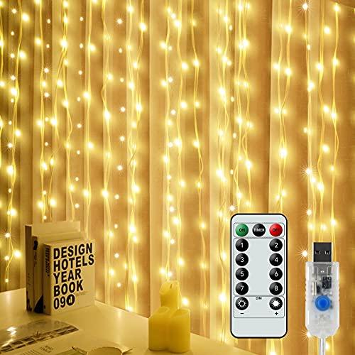 Tenda Luci LED, 6x3M 300 LED Natale Tenda Luci,8 Modalità Impermeabile Luci per Tende con Telecomando per Decorare Interni e Esterni Salotto Natale Matrimonio(con 10 Ganci)