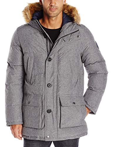 Tommy Hilfiger Men's Arctic Cloth Full Length Quilted Snorkel Jacket (Regular and Big and Tall Sizes), Heather Grey, S