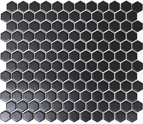 Mozaïek tegel keramiek Hexagon zwart mat doucheachterwand tegelspiegel MOS11A-0311_f | 10 mozaïekmatten
