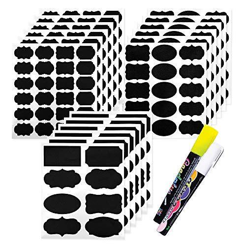 Chalkboard Labels 173 Pcs Pack, Reusable and Waterproof Blackboard Stickers for Containers, Jars; Mason, Spice, and Glass, Label Set for Kitchen and Pantry in Small, Medium, and Large with 2 Markers