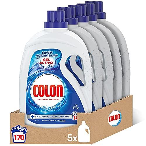 Colon Gel Activo - Detergente para lavadora líquido, fórmula higiene, adecuado para ropa blanca y de color, formato gel - pack de 5, hasta 170 dosis