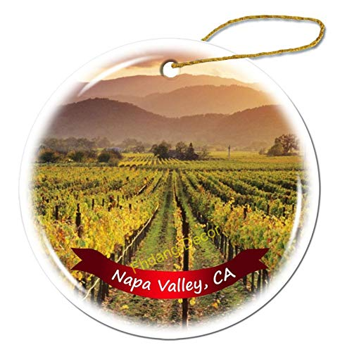 Fhdang Decor Napa Valley California Christmas Ornament Porcelain Double-Sided Ceramic Ornament,3 Inches