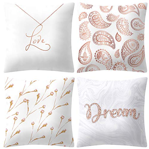 4er Set Kissenbezug Hochzeit Wohnzimmer Deko Kopfkissen Bunt Kopfkissenbezug Tropisch Geometrie Muster Reisekissen Pillowcase Kissenhülle Dekokissen Sofa Auto Home Bed Decor Sofakissen Rose Gold