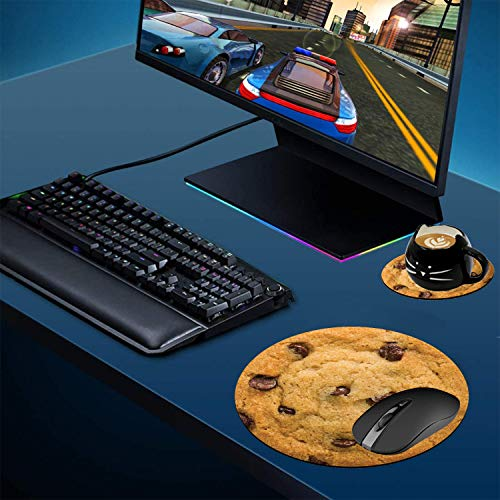 Round Mouse Pad and Coasters Set, Giant Chocolate Chip Cookie Mousepad, Anti Slip Rubber Round Mousepads Desktop Notebook Mouse Mat for Working and Gaming Photo #4