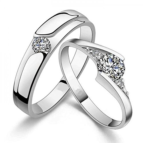 925 Sterling Inventory cleanup selling sale Silver Couple Ring Lover's Cubic C Cheap SALE Start Zircon