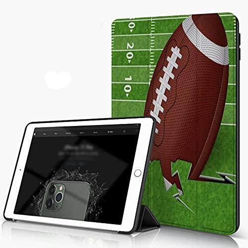 Carcasa para iPad 10.2 Inch, iPad Air 7.ª Generación ,Brown Field Touchdown Balón de fútbol americano Línea deportiva Recreación Green Gra,incluye soporte magnético y funda para dormir/despertar