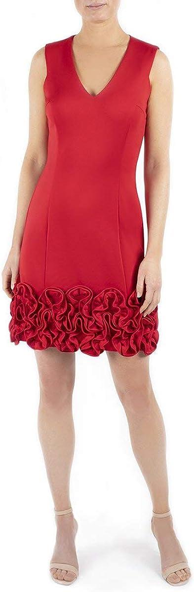 Donna Ricco Women's V-Neck Ruffle Hem Sleeveless Dress