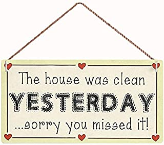 "WEIMEILD The House was Clean Yesterday Sorry You Missed it! Sign,Wood Sign Wall Art Poster Bar Sign Home Decor,12""x6""(C-469)"