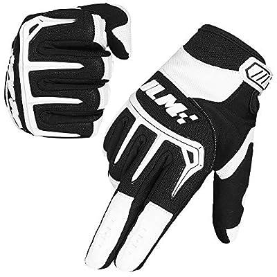 ILM Dirt Bike Motorcycle Gloves Unisex Fit BMX MX ATV MTB Racing Mountain Bike Motocross Outdoor Sports (Adult Size-White, Adult-M)
