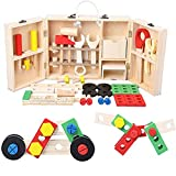 Hete-supply Kinder aus Holz Toolbox Set, tragbare Simulation Toolbox, DIY Tools Spielzeug mit...