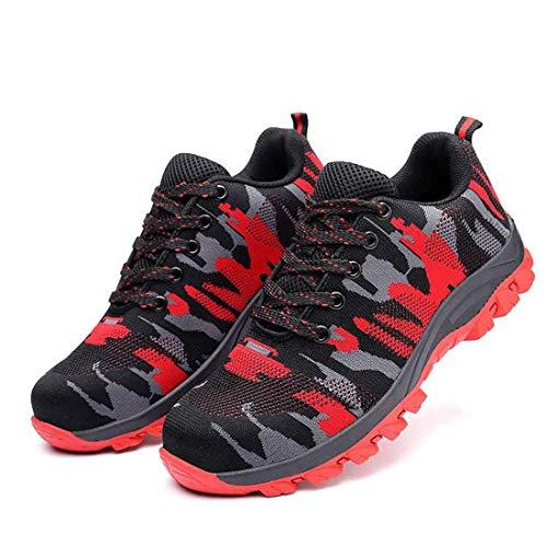 MJJ Zapatos de Seguridad con Punta de Acero para Hombres, Transpirables, Ligeras, Reflectantes, Botas de Trabajo Senderismo Botas Bajas Seguridad Senderismo Zapatos para Trekking,Red,5