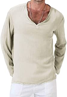 MogogN Mens Ethnic Long Sleeve Casual Solid Color Linen Vee Tee Shirt Tunic