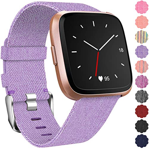 Maledan Replacement Bands for Fitbit Versa, Breathable Woven Fabric Accessories Strap Watch Band for Fitbit Versa Fitness Smartwatch, Small, Lavender