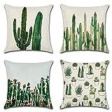 Morsky El Tiro Fundas de Almohada Tropical Cactus Flor de algodón de Lino Decorativo Almohadilla de Tiro de la Caja Cojín 18x18 Pulgadas Almohada resbalones (Cactus) (Color : C12, Size : 45 * 45CM)