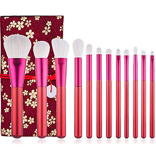 Pinceau De Maquillage Set 12 Pcs Maquillage Rouge Brosses Maquillage Laine Brosses Beauté Ensemble D'outils Poignée En Bois Synthétique Professional Premium Fondation Blending Fard À Joues,R1