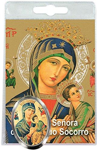 Imán Virgen del Perpetuo Socorro de metal niquelado con oración en español (paquete de 3 piezas)