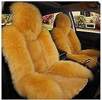 カーシートクッション 車の座席はファジーフロントシートのみをカバーしか暖かい柔らかいふわふわの通気性シープスキンロングウール、マセラティジュリ、Quattroporte 5ドアと互換性があります カーシートプロテクター (Color : E)