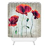 DENY Designs Madart Inc. Aqua Burn Duschvorhang, extra lang 69-Inch by 72-Inch Vibrant Poppies Ii