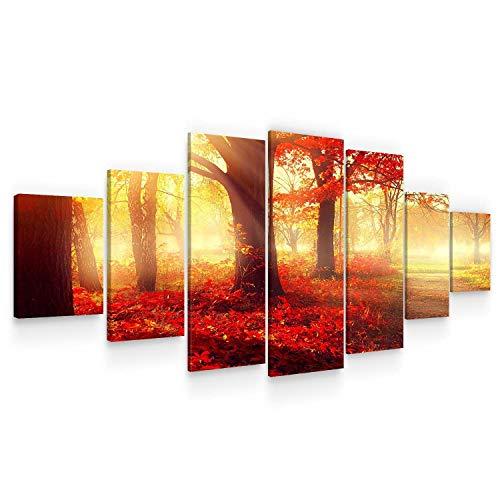 Startonight Grande Cuadro sobre Lienzo El Bosque Rojo, Impresion en Calidad Fotografica Enmarcado y Listo Para Colgar Diseño Moderno Decoración XXL Formato Multipanel 7 Piezas 100 x 240 CM