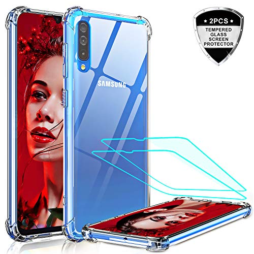 Samsung A50 Case, Samsung Galaxy A50 Case with 2 Tempered Glass Screen Protector, LeYi Crystal Clear Hard PC Soft TPU Anti-Scratch Shock-Absorption Bumper Hybrid Slim Phone Cover Cases for A50 / A30S