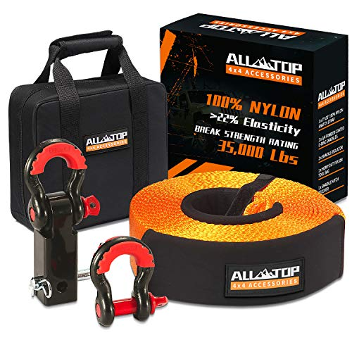 ALL-TOP Nylon Recovery Kit with Hitch Receiver: 3' x30' (35,000 lbs) 100% Nylon Snatch Strap +2' Shackle Hitch Receiver + 3/4 HD Shackles (2pcs) with Isolator +Storage Bag