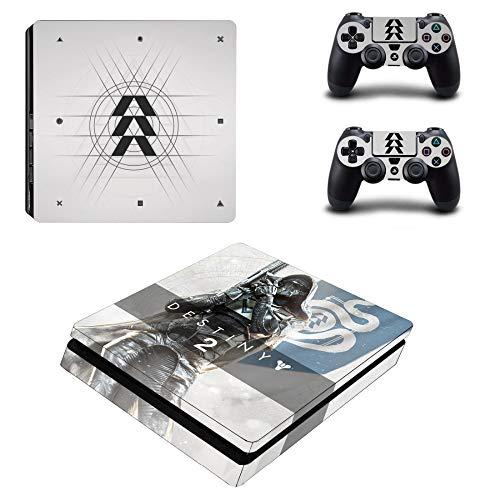 FENGLING Game Destiny 2 Ps4 Slim Skin Aufkleber Aufkleber für Sony Playstation 4 Konsole und 2 Controller Skin Ps4 Slim Aufkleber Vinyl Zubehör