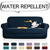 AUJOY Stretch 2-Piece Sofa Covers Water-Repellent Dog Cat Pet Proof Couch Slipcovers Protectors (Sofa, Navy Blue)