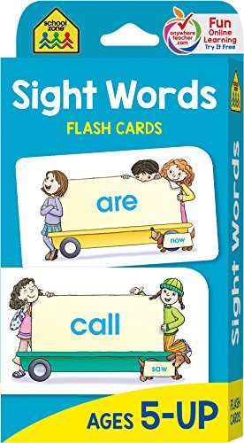 School Zone - Sight Words Flash Cards - Ages 5 and Up, Kindergarten to 1st Grade, Phonics, Beginning Reading, Sight Reading, Early-Reading Words, and More