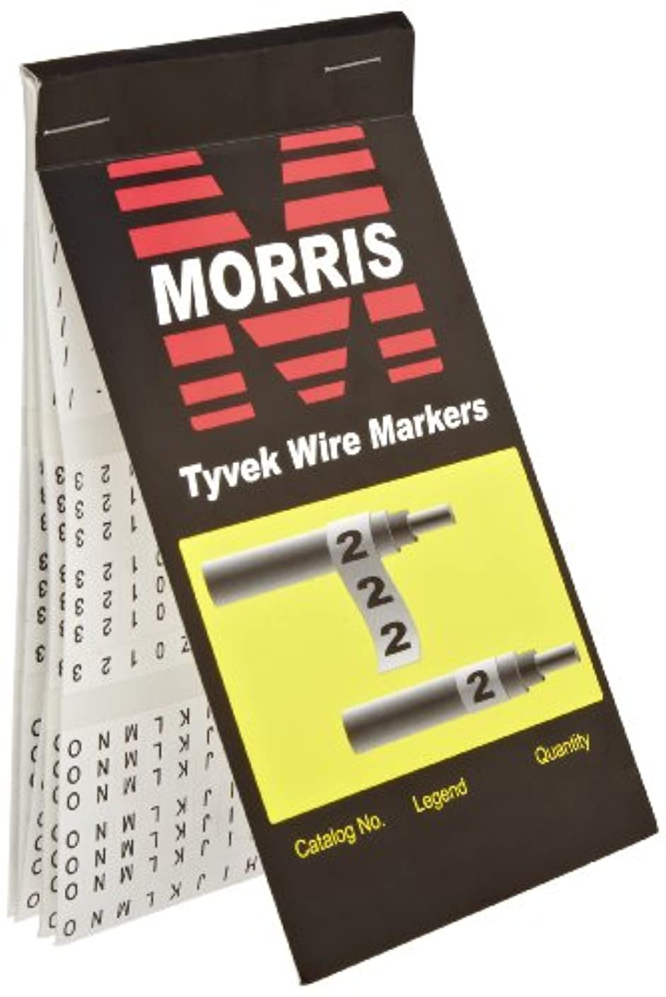 Morris Products Pre-Printed Wire Marker Booklet - Tyvek Book A - Z, 0 - 15, + - / Marking - 10 Markers Per Legend – For Cable Hook Ups – Oil, Water Resistant – Self-Adhesive Cloth Material – 1 Count