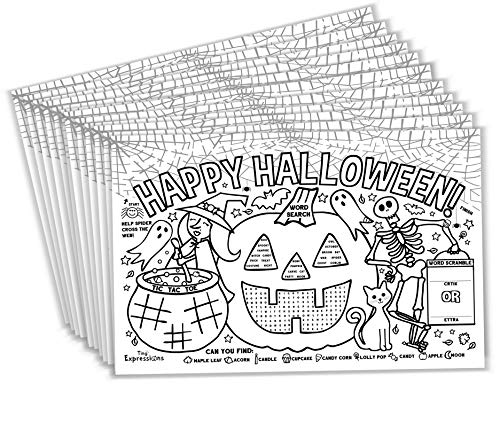 Tiny Expressions – Halloween Placemats for Kids Pack of 12 Pumpkin Placemats  Coloring Activity Paper Table Mats for Children's School Party Craft  Disposable Bulk Bundle Set