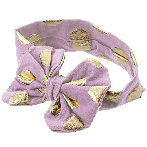 SODIAL Top-Fashion Baby Infant Girl Gilding Big Bow Knot Dot Headband Kid Toddler Hair Accessories (Violet Clair)