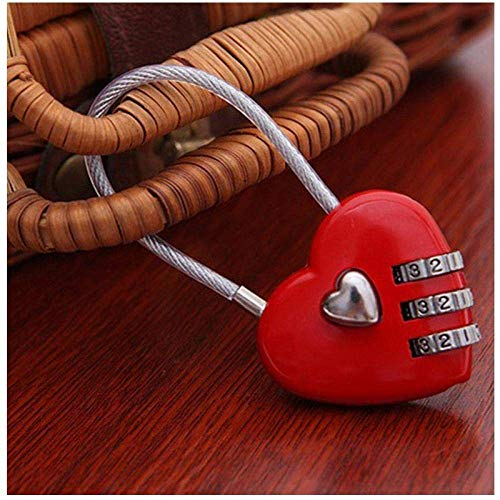 Creative Heart-shaped Combination Lock Metal Padlock with Wire Rope Anti-theft Lock Luggage Lock