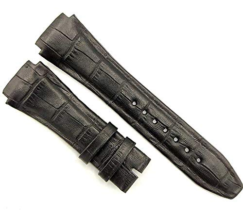 212ZTD Compatible With Cesare Paciotti 4us T4SW Series Hand Made Black Leather 20mm Watch Strap 707PCT