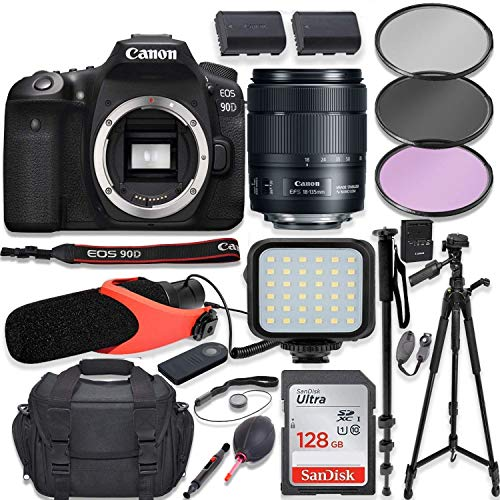 "Canon EOS 90D DSLR Camera w/Canon 18-135mm USM Lens Kit + Pro Photo & Video Accessories Including 128GB Memory, LED Light, Condenser Micorphone, 60"" Tripod & More"